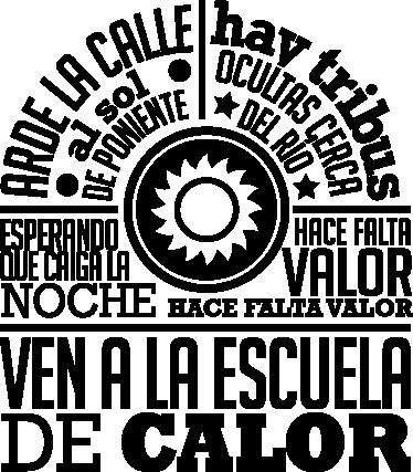 TenVinilo. Vinilo decorativo escuela de calor. Adhesivo con un diseño original de tenvinilo inspirado en una canción del grupo de pop español Radio Futura.