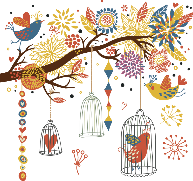 TenStickers. Garden of Birds Sticker. A very detailed tree wall sticker showing branches full of colourful flowers and beautiful birds, from our spring wall stickers collection. This gorgeous bird wall art is perfect for bring a vibrant and warm atmosphere onto any wall in your home.