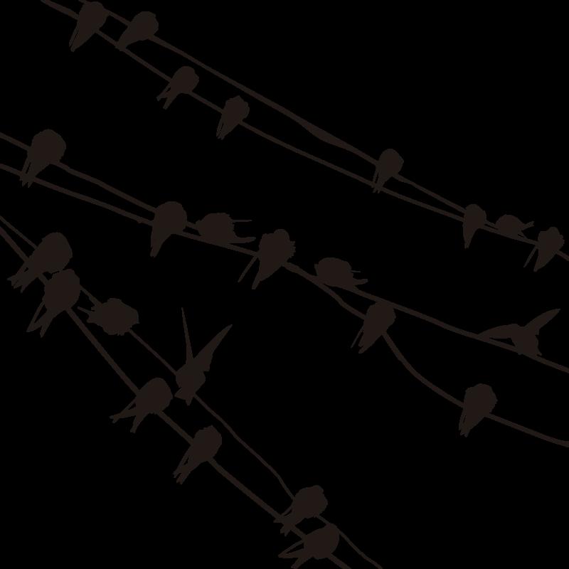 TENSTICKERS. 鳥の電話線の壁のステッカー. ウォールステッカー-枝と電話線の間に休む鳥。どの部屋でも特徴的な機能です。さまざまなサイズと色で利用できます。