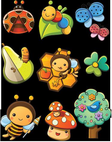 TenStickers. Insekten und Blumen Aufkleber. Biene, Schmetterling, Raupe, Pilz, Baum.. Mit diesen Wandtattoos können Sie der Wand im Kinderzimmer einen besonderen Look verleihen.