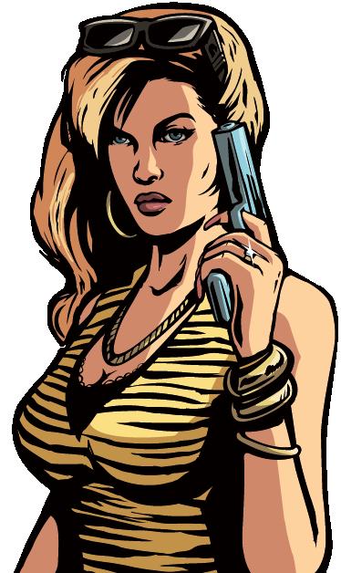 TenStickers. GTA Video Game Sticker. Iedereen kent de video game Grand Theft Auto je ziet hier een sexy dame met een pistool vast! Een van de bekende personages!