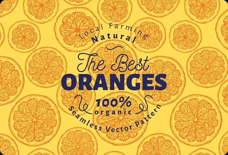TENSTICKERS. ヴィンテージオレンジパターンのラップトップステッカー. カラフルなオレンジの背景に「最高のオレンジ、100%オーガニック」というテキストが描かれたノートパソコンのステッカー。除去時に残留物がゼロ。