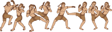 TenStickers. Muay Thai Border Sticker. Oriental style drawing of a series of martial artists that can form a border effect on your walls.