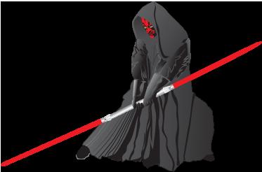 TenStickers. Vinilo decorativo Darth Maul. Een leuke muursticker  van Dark Maul, het slechte personage uit de sage van de Star Wars films geregisseerd door George Lucas.