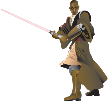 TenVinilo. Vinilo decorativo Mace Windu. Adhesivo del malogrado miembro del consejo Jedi de la saga de films de Star Wars.