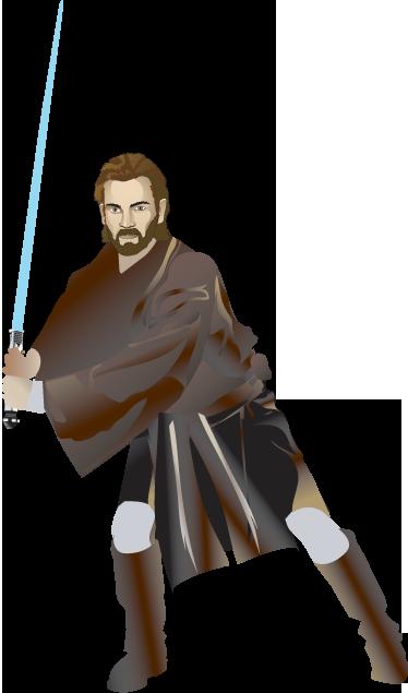 TenVinilo. Vinilo decorativo Obi Wan Kenobi. Pegatina decorativa de Star Wars. El poderoso instructor de la familia Skywalker, armado con una espada láser azul. Vinilo decorativo para los entusiastas de esta Saga que tantos seguidores y fans tiene.