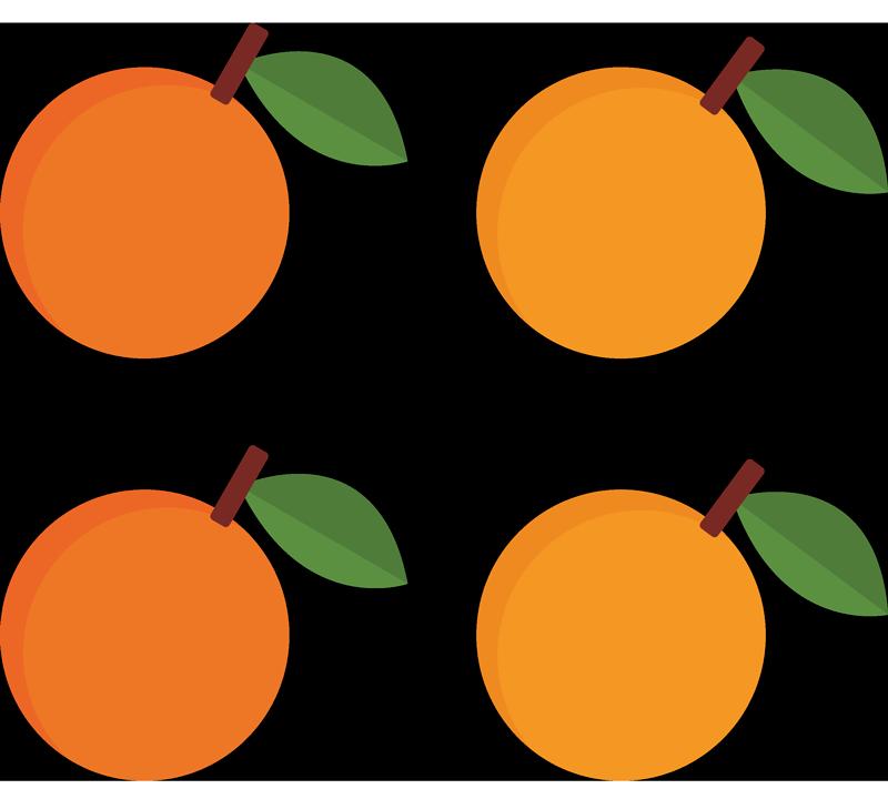 TENSTICKERS. エレガントなオレンジフルーツウォールステッカー. キッチンやその他の場所のためのカラフルで美しく見えるオレンジ色のフルーツデカール。茎にオレンジのこのセットを使用して、キッチンスペースに素敵な外観を追加します。