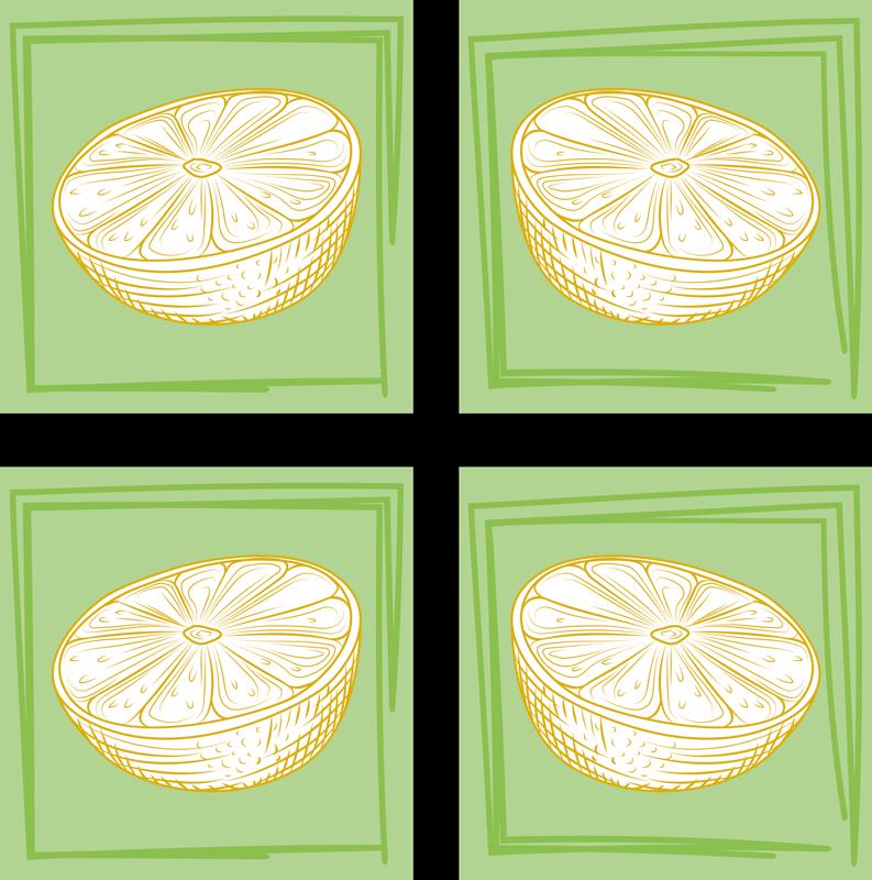 TenVinilo. Azulejos vinílicos cítricos verdes dibujados. Azulejos vinílicos de cítricos de limón dibujado a mano para paredes de cocina o baño. Diseño con limones verdes ¡Envío exprés a domicilio!