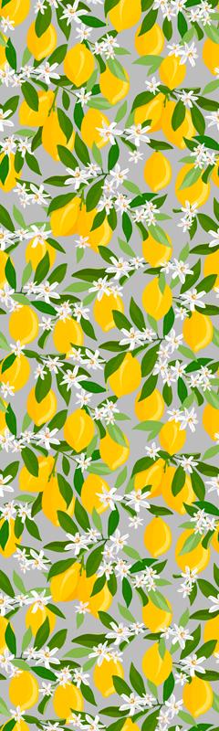 TenStickers. Vinil para frigorífico Limoeiro. Um lindo e colorido vinil autocolante decorativo de frutas limão amarelo brilhante para a frigorífico. Muito fácil de aplicar, original, autoadesivo, duradouro e personalizável.