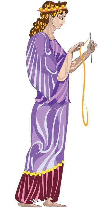 TenStickers. Clotho Greek Mythology Wall Decal. A wall decal showing the youngest of the three fates, this sticker shows Cloto holding her needle and thread