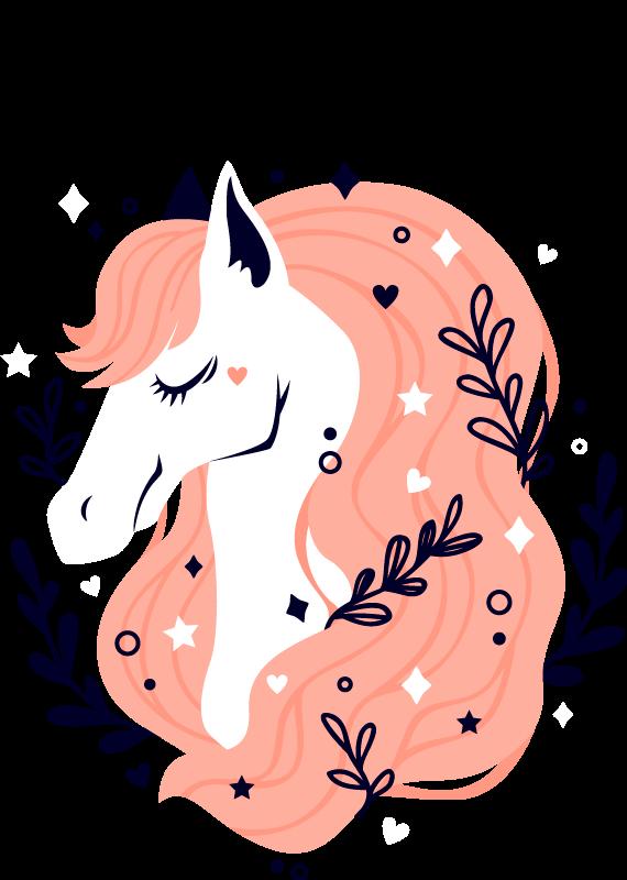 TenVinilo. Vinilo animales yegua pelo rosa con nombre. Fantástico vinilo infantil de yegua con el pelo rosa y lleno de plantas para que decores tu casa a tu gusto. Elige las medidas ¡Envío exprés!