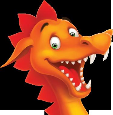 TenStickers. Autocolant fericit de perete. Autocolant de perete pentru copii - design distractiv și jucăuș al unui dragon fericit. Disponibil în diferite dimensiuni.