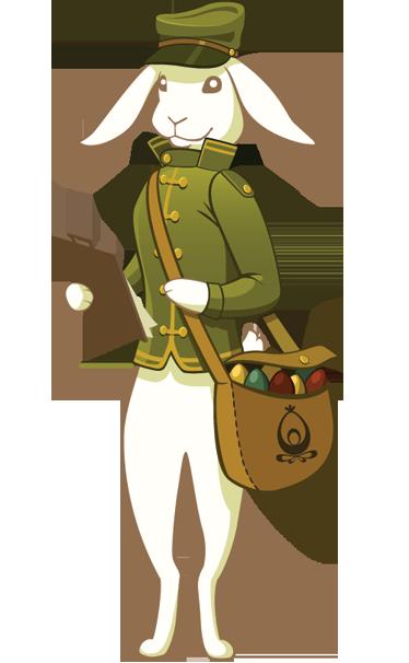 TenVinilo. Vinilo infantil conejo pascua cartero. Linda ilustración en adhesivo de un conejo de pascua repartiendo huevos en su bolsa en vez de postales.