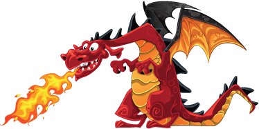 TenStickers. Fire Breathing Dragon Children Sticker. An amazing dragon wall sticker illustrating this huge winged monster spitting breathing from his mouth. A friendly kids decal for their room!