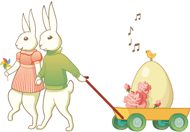 TenStickers. Easter Bunny Couple Wall Sticker. A pair of rabbits holding hands pulling a trolley with a large egg! A creative decal from our collection of bunny wall stickers for Easter!