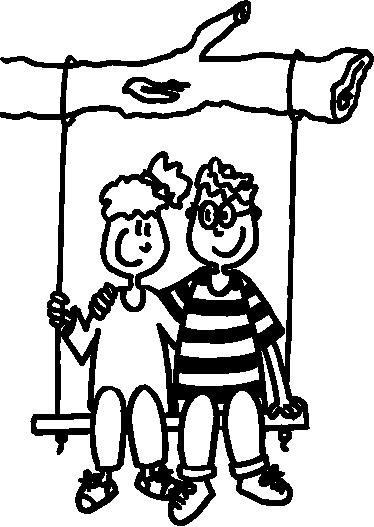 TENSTICKERS. スイングイラスト壁アートデカールの子供カップル. 子供の寝室スペースのスイングイラストステッカー装飾の子供カップル。必要なサイズがあり、簡単に適用できます。