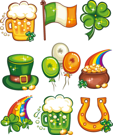 TenStickers. St. Patricks Day Decal Collection. Wall Stickers - Collection of Saint Patrick´s Day decorations for the home or business. Irish theme illustrations. Decals.
