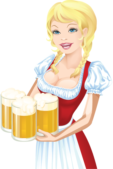 TenStickers. German Beer Sticker. Oktoberfest decals - A decorative decal illustrating a German waitress holding large beers. A superb Oktoberfest sticker for bars and pubs