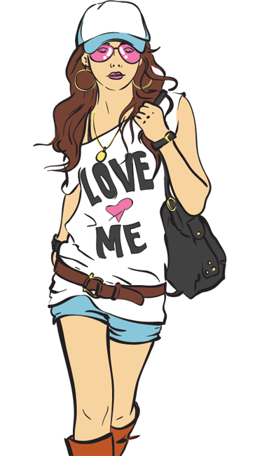 TenStickers. Fashionable Lady Shopping Sticker. An all about fashion wall stickerillustrating a young fashionable girl with sunglasses, hat, mini jean shorts and boots! A brilliantshop window stickerfor those that want to decorate their retail store.