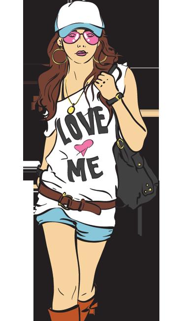 TenStickers. Sticker shopping fille fashion. Une jeune femme fashion à la pointe de la mode en mini short, casquette et lunettes de soleil... Un sticker moderne et original.