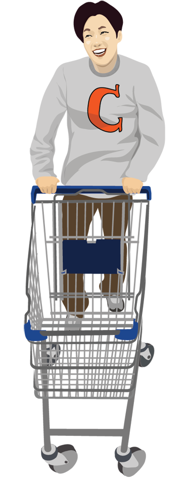 TenStickers. Guy with Trolley Wall Sticker. An decorative decal of a young guy doing his shopping with a trolley. This shopping sticker is great to decorate your home and store!