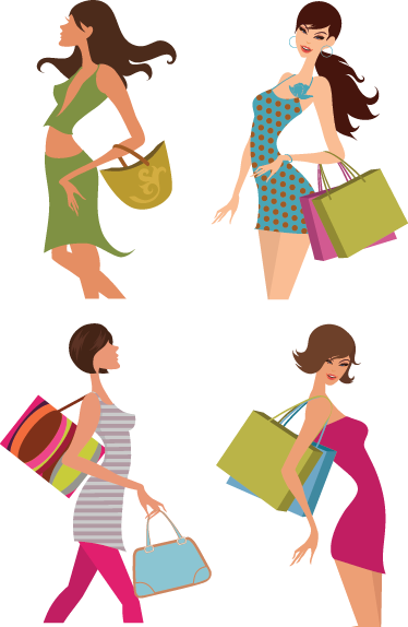 TenStickers. Woman Shopping Wall Sticker. A set of window stickers illustrating young and elegant ladies holding shopping bags! Perfect fashion decals to decorate your shop front window.