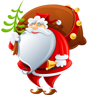 TenStickers. Father Christmas Decorative Sticker. A fun decal of Father Christmas carrying a small bell and a huge sack of presents for the little ones.