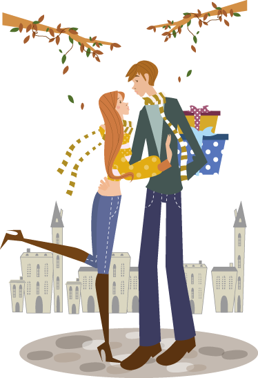TenStickers. Autumn Couple Wall Sticker. Wall Stickers - Illustration of a couple under the autmn trees with a town background.