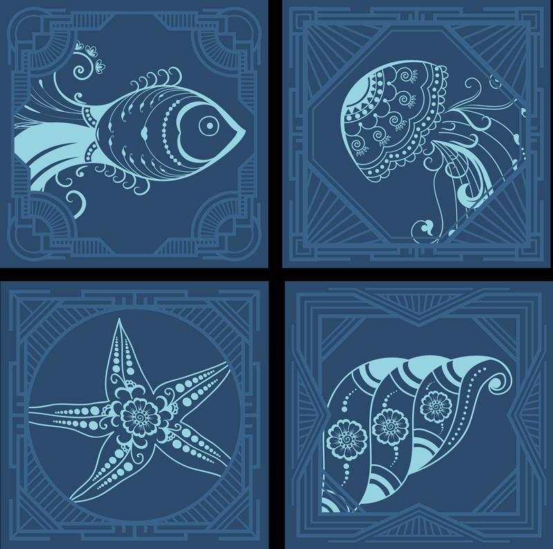 TENSTICKERS. 観賞用の海の生き物のタイルタイル転送. ヒトデ、カタツムリ、カキなどの海洋要素のイラストと青色の海洋をテーマにしたビニールタイルステッカー。気泡防止ビニール。