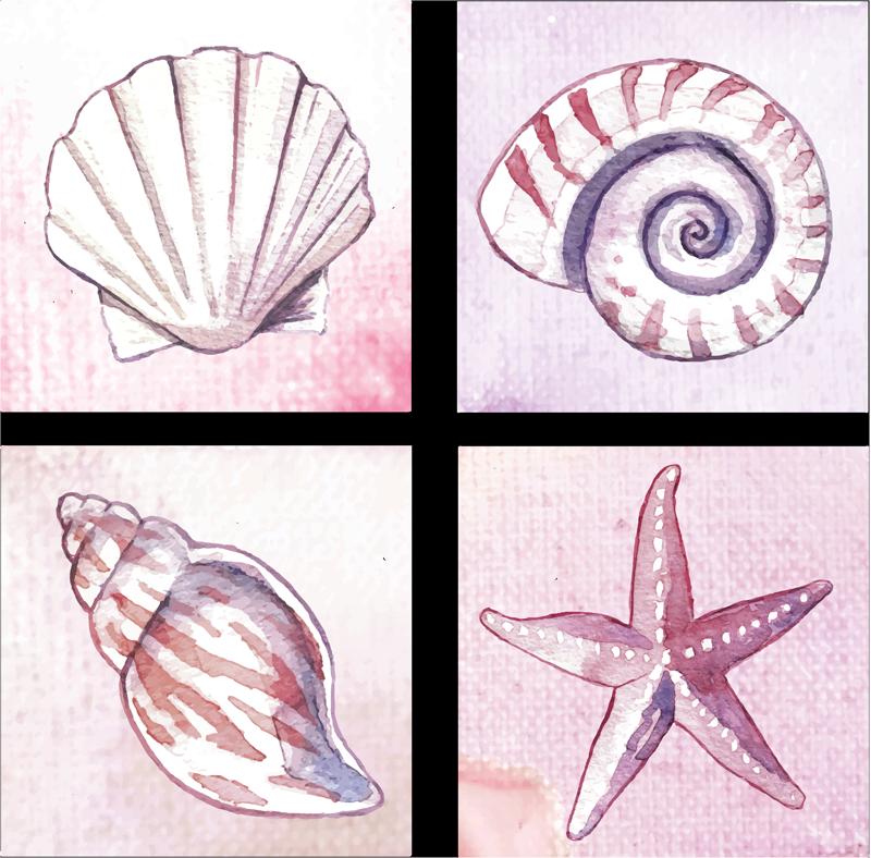 TENSTICKERS. 海洋生物タイルタイル転送. マリンスタイルとヒトデや牡蠣などのイラストが入ったビニールタイルステッカーで、バスルームを飾って海のように感じることができます。