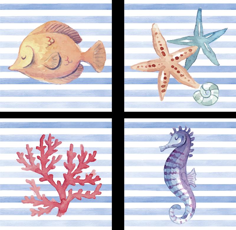 TENSTICKERS. シーライフタイル転送. 装飾的な海の生物の壁タイルデカールの私たちの素敵なコレクションで決して退屈なスペースはありません。タツノオトシゴ、ヒトデ、サンゴ、甲殻類が含まれています。