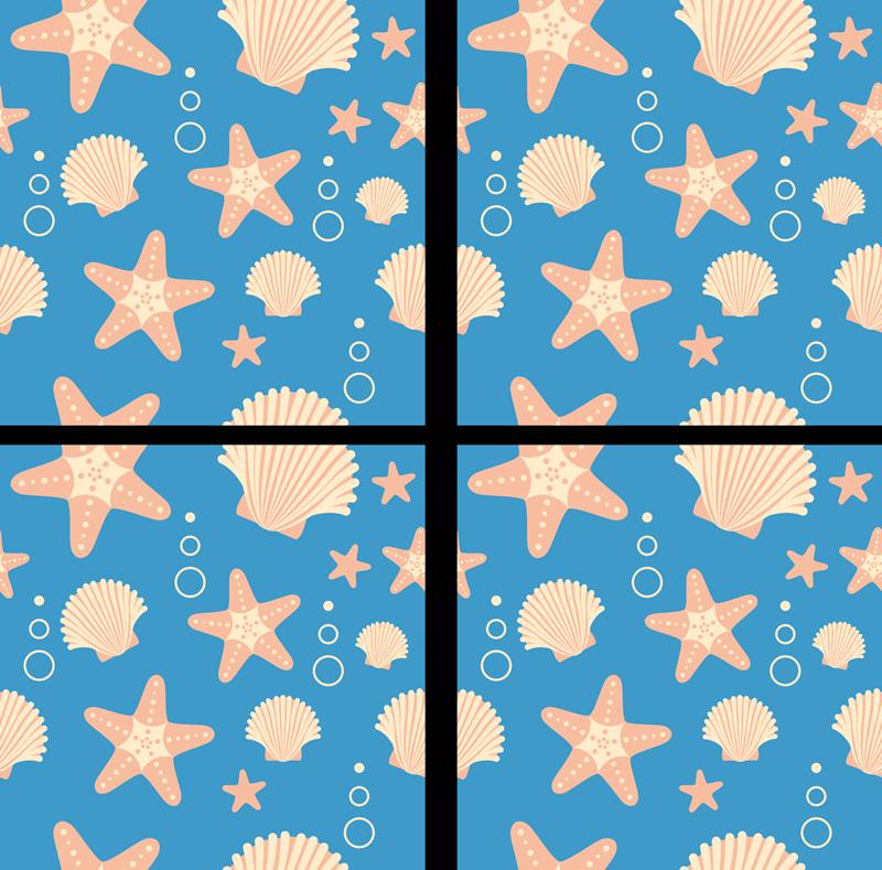 TENSTICKERS. 海のタイルの転送の下でフィッシュスターとシェル. さまざまな魚の星や海中生物のタイルデカール。タイルパターンのさまざまな水中動物の素敵なコレクションデザイン。