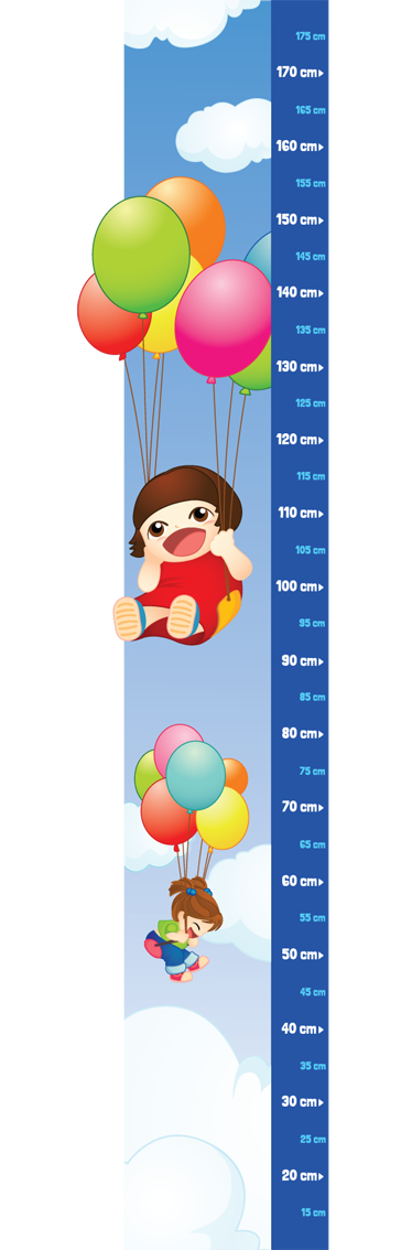 TenStickers. Kids & Balloons Height Chart Decal. You can now keep a record of how fast your child grows with this superb height chart wall sticker for the little ones.