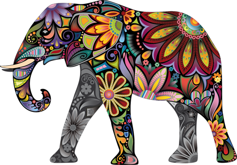 TenStickers. Colourful Elephant Sticker. This decorative vinyl from our collection of elephant stickers is one of the most attractive and personal for modern home furnishing options.