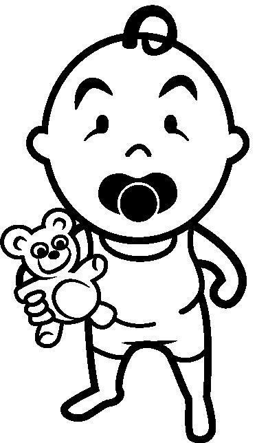TenStickers. Sticker bambino con il ciuccio. Wall sticker pe bambini che raffigura un bebè con il suo ciuccio mentre tiene in braccio il suo orsacchiotto.