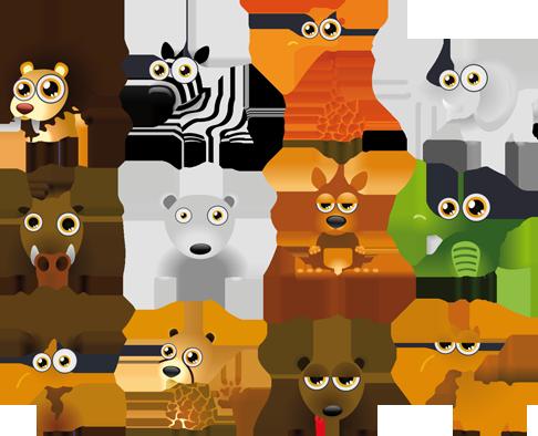 TenStickers. 동물 모음 어린이 스티커. 키즈 스티커-키즈 룸에 이상적인 재미있는 야생 동물 모음. 화려하고 생생한 디자인.