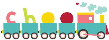 "TenStickers. Train Text Kids Sticker. A great train wall sticker to decorate your child's bedroom or nursery! This text sticker is perfect for creating a fun environment for the little ones, displaying a lovely blue steam train with the word ""choo"" riding along in the carriages."
