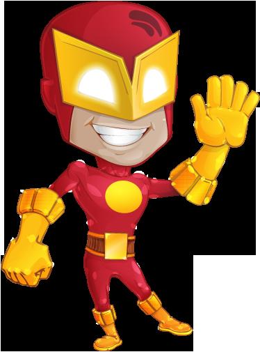 TenStickers. Adesivo bambini supereroe amico. Sticker decorativo, in stile fumetto, che raffigura un simpatico supereroe mentre fa ciao con la mano.
