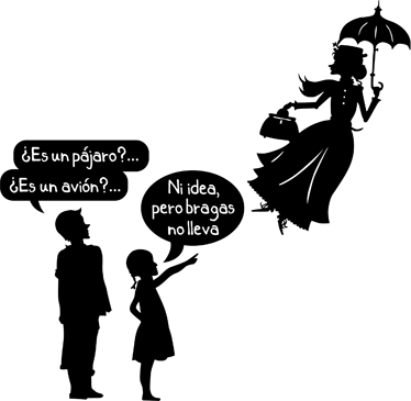 TenVinilo. Vinilo decorativo bragas Mary Poppins. Original diseño adhesivo de tenvinilo con un chiste visual irreverente sobre la famosa historia de la nani voladora.