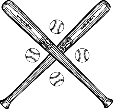 TenStickers. Baseball Bat and Balls Wall Sticker. A great wall sticker for fans of the American sport of baseball. A design of two bats crossed together and four baseballs.