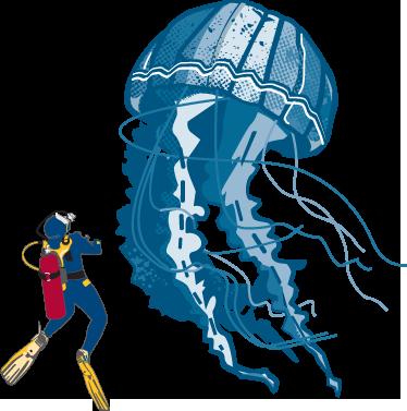 TenStickers. Muursticker duiker en grote kwal. Deze muursticker illustreert een duiker naast een gigantische schijfkwal. Ideal ter wanddecoratie van grote fans van het leven onder water.