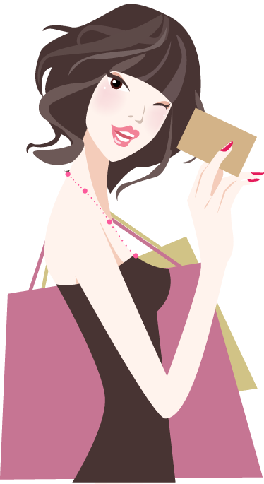 TenStickers. Lady Shopping with Credit Card Wall Sticker. A shopping wall sticker illustrating a young lady ready to pay with her credit card. Great fashion decal to decorate retail stores.