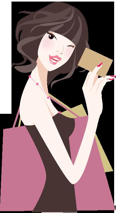 TenStickers. леди покупки с помощью кредитной карты стикер. наклейка на стену с покупками, на которой изображена девушка, готовая расплатиться кредитной картой. отличная модная наклейка для украшения розничных магазинов.