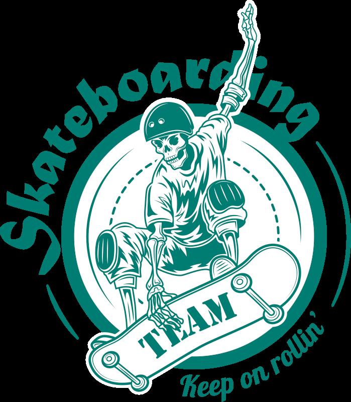 TenVinilo. Vinilo de deportes símbolo del skate. Vinilo de deportes de equipo de skate: el diseño ilustra un skater  en una tabla de patinaje. Fácil de aplicar ¡Elige tus medidas!