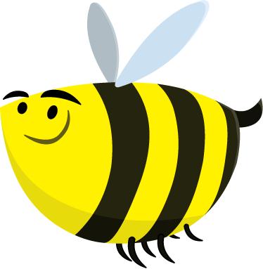 TenStickers. Funny Bee Wall Sticker. Fun and playful bee wall sticker to brighten up any room. Great cartoon animal decal to put a smile on the little ones' faces. This little guy's yellow and black stripes are just what the walls of your home are missing. Available in various sizes.