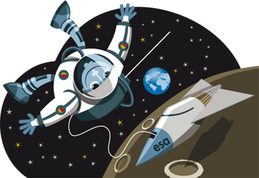 TenStickers. Kids European Astronaut Wall Sticker. Kids Wall Sticker-Illustration of an astronaut doing a space walk by the moon with a view of earth in a distance.