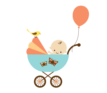 TenStickers. Baby in Buggy Wall sticker. A baby wall sticker to decorate your child's nursery. This nursery vinyl decal is great to add some colour to any space at home.