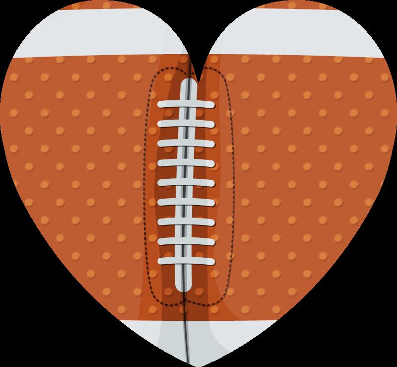 TenVinilo. Vinilo deportes corazón pelota rugby. ¡Vinilo de deportes con forma de corazón seguramente permitirá a tu hijo disfrutar de un diseño exclusivo! ¡Elige tus medidas!