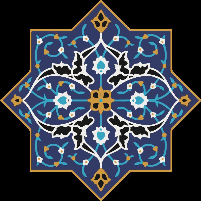 TenVinilo. Vinilo de mandala árabe tonos azules. Vinilo de mandala de decoración ornamental árabe que le dará un toque super original y exclusivo a la decoración de tu hogar ¡Envío exprés!