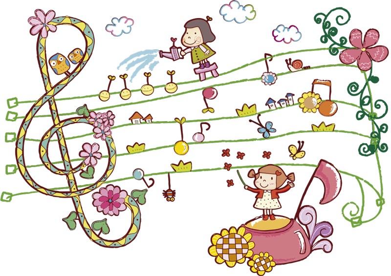 TenStickers. Musical and Floral Kids Sticker. Children's wall stickers - The treble clef wall sticker createsa magical atmosphere in your child´s bedroom. The kids bedroom sticker contains other children watering the flowers on the musical notes!